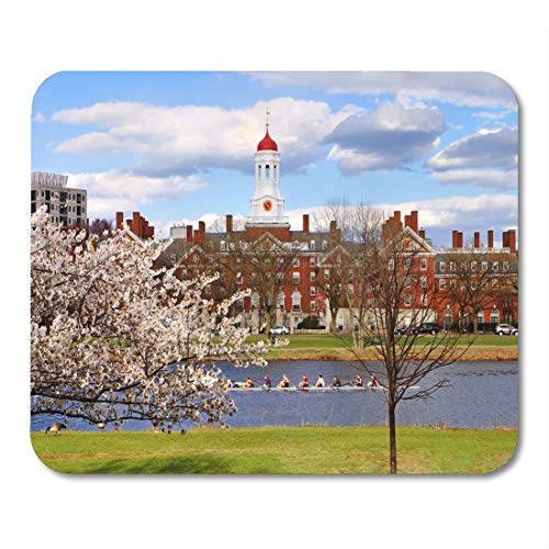 Emvency Mouse Pads Boston Red University Harvard in The Spring Blue Campus Mouse Pad for notebooks, Desktop Computers mats 9.5