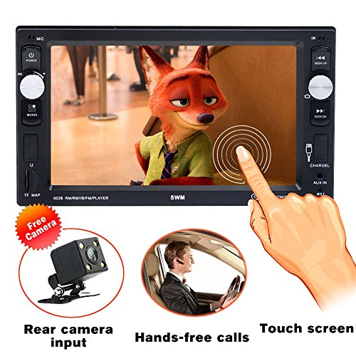 Double Din Car stereo with bluetooth Car Radio Audio 6.2 Inch High Definition Touch Screen TF/USB/AUX with Rear View Camera