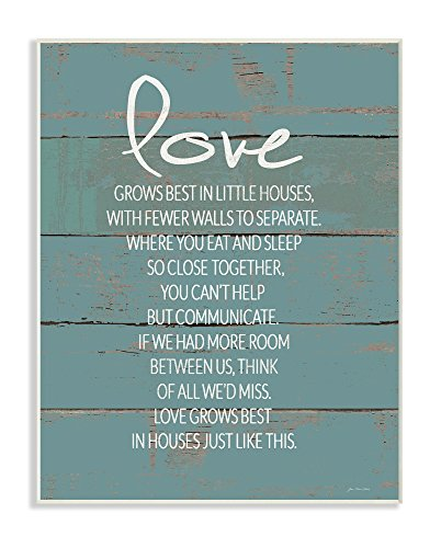 Stupell Industries Love Grows Best in Little Houses Distressed Teal Shiplap Wall Plaque Art, 10 x 0.5 x 15, Proudly Made in USA