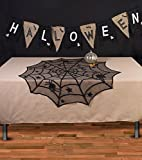 Frjjthchy 2 PCS Polyester Spider Table Toppers with Lace for Halloween Scary Movie Nights Decor Black