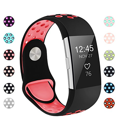 POY Replacement Bands Compatible for Fitbit Charge 2, Adjustable Breathable Wristbands with Air Holes Straps, Small Black/Hot-Pink