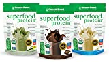 Ground-Based Nutrition Organic Plant Based Superfood Protein Powder Zero Carb Vegan Greens Raw Food All-Natural Sugar-Free Non-GMO Multiflavor Bundle Unflavored Chocolate Vanilla