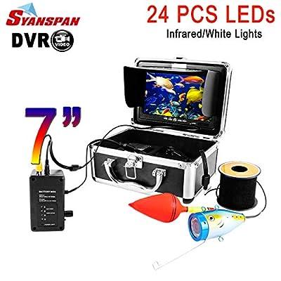 "7"" Underwater Fish Finder Fishing Video Camera SYANSPAN IP68 HD 1000TVL Camera,8GB TF Card Recording Editon,24 Adjustable LED Night Version for Ice/Lake Fishing"
