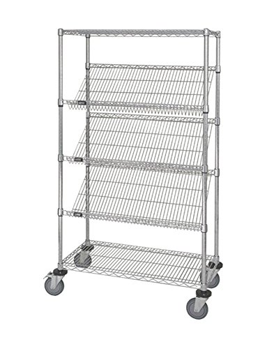 (Quantum Mobile Slanted Shelving Unit with Caster Chrome 18