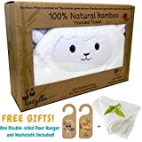 Organic Bamboo Baby Hooded Towel with Bonus Washcloth   Ultra Soft and Super Absorbent Toddler Hooded Bath Towel with Cute Lamb Face Design   Great Infant/Newborn Shower Present for Boy or Girl