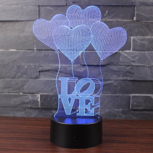 BFRed Love 3D Lamp Room Bedroom Decorative Night Light M...