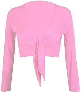 Janisramone New Womens Tie Up Front V Neck Bolero Shrug Ladies Long Sleeve Printed Cardigan Top UK