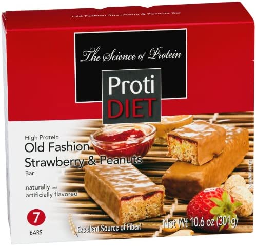 ProtiDiet High Protein Bar – Strawberry Peanuts,net wt 10.6 oz, 7 Servings Box