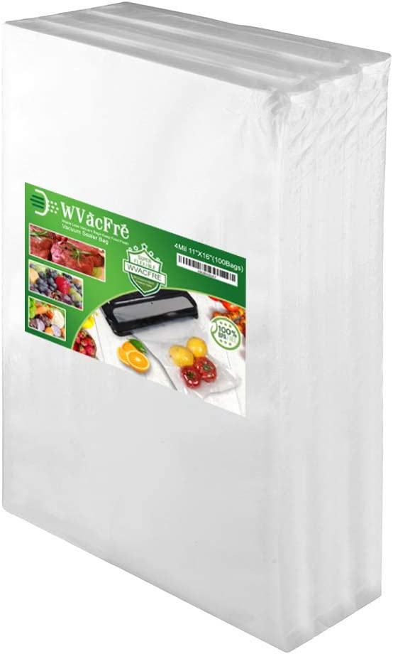 WVacFre 100 Gallon Size11x16Inch Food Saver Vacuum Sealer Bags with Commercial Grade,BPA Free,Heavy Duty,Great for Food Vac Storage or Sous Vide Cooking
