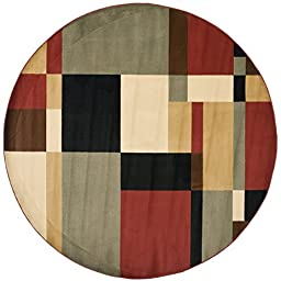 Safavieh Porcello Collection PRL6862-9091 Modern Abstract Art Black and Multi Round Area Rug (5\' Diameter)