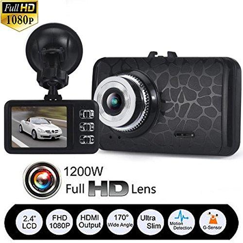 Video Camera Recorder,Pocciol 1080P HD CAR DVR G-sensor IR Vehicle Video Camera Recorder Dash Cam 170 A + grade high-resolution ultra wide-angle len (Black)