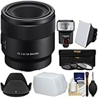 Sony Alpha E-Mount FE 50mm f/2.8 Macro Lens with Flash + 3 UV/CPL/ND8 Filters + Hood + Soft Box + Diffuser + Kit