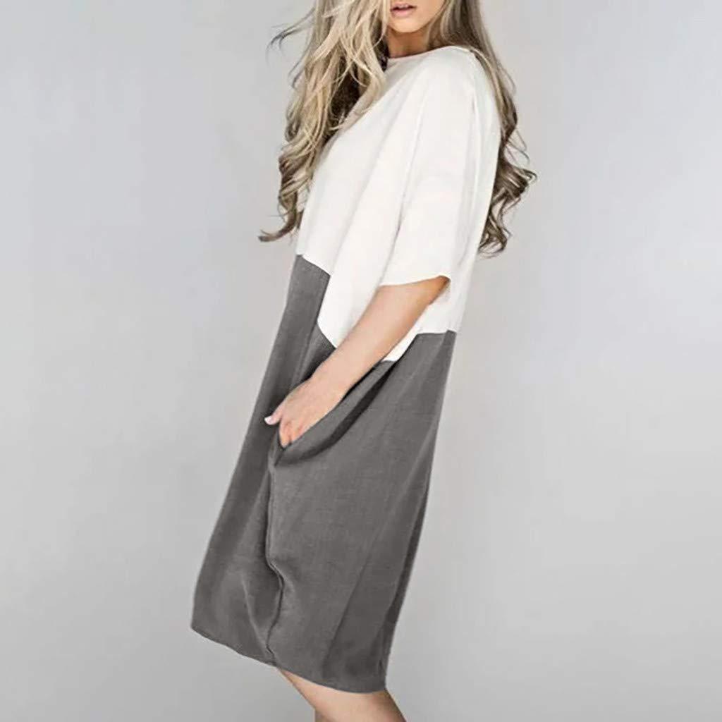 Damenmode Tasche Lose Kleid Damen Rundhalsausschnitt beil/äufige T/ägliche Lange Tops Kleid Plus Gr/ö/ße