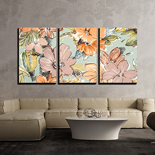 wall26 - 3 Piece Canvas Wall Art - Floral Pattern on Blue Fabric. Brown and Orange Flowers Print as Background. - Modern Home Decor Stretched and Framed Ready to Hang - Art Framed Fabric