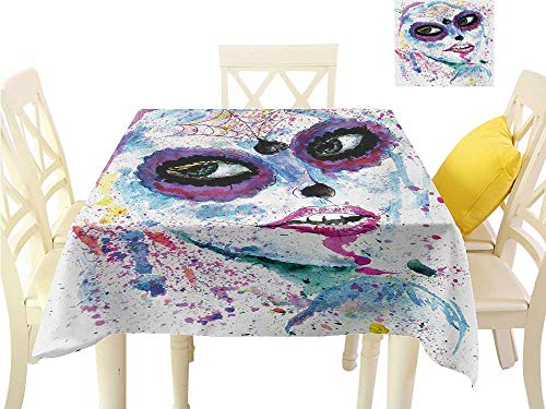 Angoueleven Fall Tablecloth Girls,Grunge Halloween Lady with Sugar Skull Make Up Creepy Dead Face Gothic Woman Artsy,Blue Purple Square Table Cloth Home Decor W 54