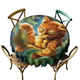 Round Premium Table Cloth Perfect for Indoor, Outdoor (55' Round), Orange Green Blue, Cats, Fantasy Painting Radiant Orange Cartoon Cat Peacock Feather Bird Magical Dreamy