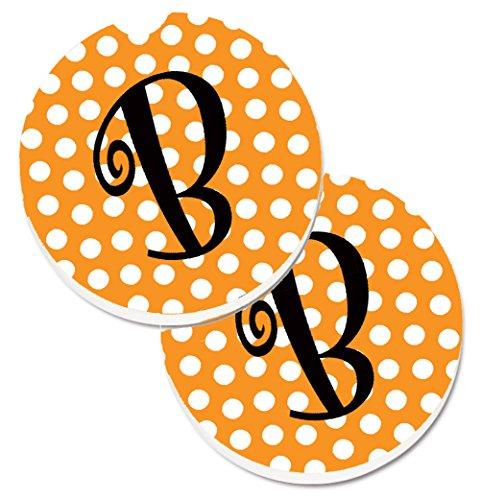 - Caroline's Treasures Monogram Initial B Orange Polkadots Set of 2 Cup Holder Car Coasters CJ1033-BCARC, 2.56, Multicolor