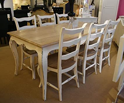 Amazon.com - French Oak Dining Table Set (1 Table 6 Chairs)....Stone ...