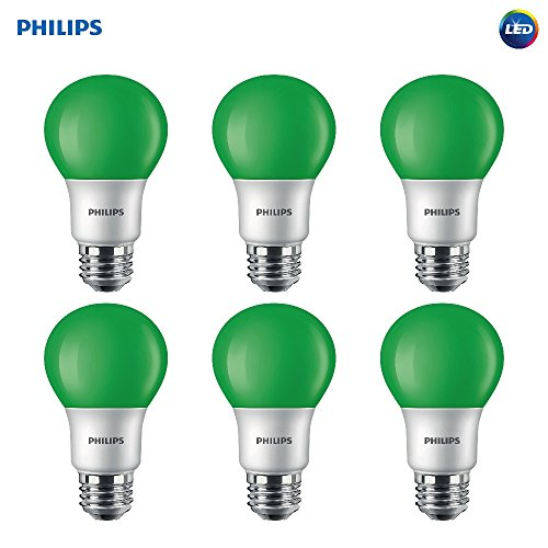 Philips LED 463224 60 Watt Equivalent Green A19 LED Light Bulb, 6 Pack, Piece