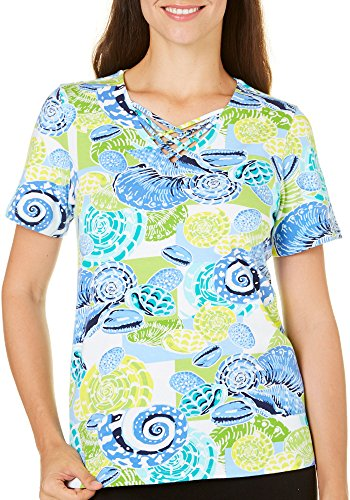 Alfred Dunner Womens Shell (Alfred Dunner Womens Cable Beach Seashell Top Large)