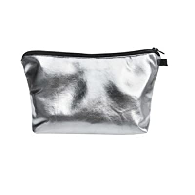 Silver Shiny Faux Leather Cosmetic and Makeup Bag (Polyurethane) For Kids, Teens, Adults! Perfect for Cosmetics, School, Toiletries, More 9 in. x 5 in.