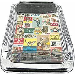 Glass Square Ashtray Vintage Poster D-010 Vintage Cats Decorative Decoupage