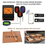 WIRELESS MEAT THERMOMETER + FREE XL NON-STICK COPPER MAT for BBQ, Grill, Bake & Smoke. Bluetooth/Phone digital LCD display Silicone FDA Probes, IMPROVED MODEL for Cooking, Grilling, Baking & Smoking