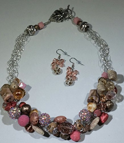 Al Fresco Crocheted Wire Necklace and Earring Set