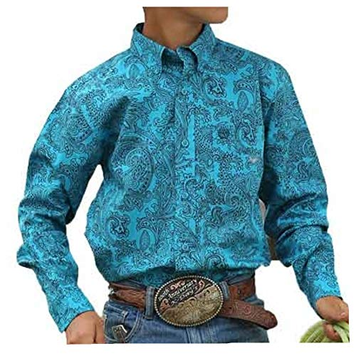 Cinch Big Boys Long Sleeve Button One Open Pocket Print Shirt, Caneel Bay Paisley, XXL