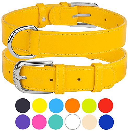 - CollarDirect Genuine Leather Dog Collar 12 Colors, Soft Padded Collars for Puppy Small Medium Large, Mint Green Black Pink White Red Blue Purple (Yellow, Size L Neck Fit 16
