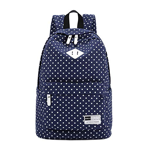 6 Rucksack Deep Polka Bag Dot 15 Blue Printed inch Laptop Hwq7wBf