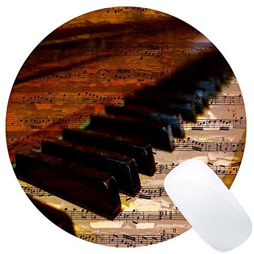Wknoon Round Gaming Mouse Pad Custom Design, Vintage Piano Keys Music Notes, 8