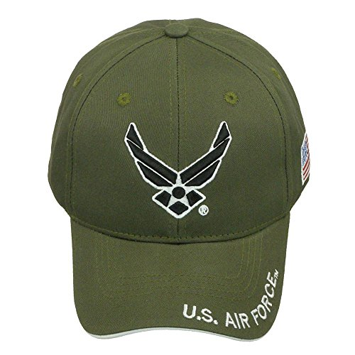 Official Licensed US Air Force with US Flag Adjustable Back Cotton Cap Hat - Army Green