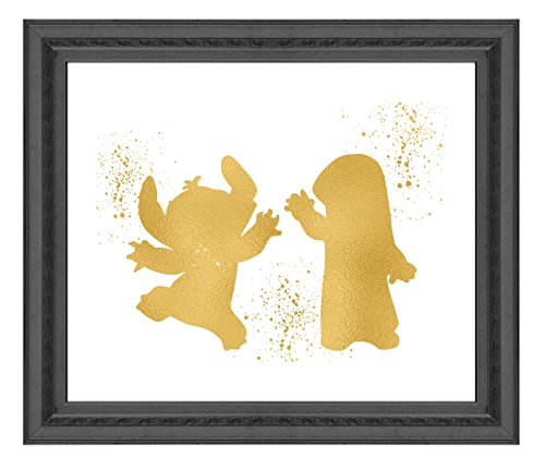 Lilo and Stitch - Ohana Means Family - Gold Print Inspired by Lilo and