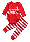 Baby Girls Outfits Newborn Red My First Christmas Letters Deer Long Sleeve Tops T-shirt Pants Hat 2PCS Outfits Set