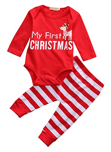 Baby Girls Outfits Newborn Red My First Christmas Letters Deer Long Sleeve Tops T-shirt Pants Hat 2PCS Outfits Set 12 Months