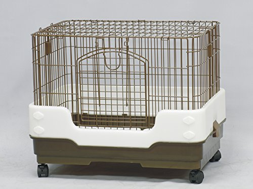 (Homey Pet Rabbit Chinchilla Hamster Rat Ferret Cage with Pull Out Tray, Urine Guard and Lockable Casters, Brown, L26 x W18 x H21 )