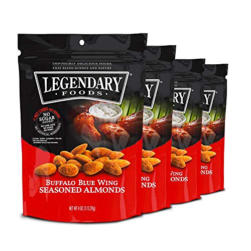 (Legendary Foods Seasoned Almonds | Keto Diet Friendly, Low Carb, No sugar Added, Good Protein & Fat | Buffalo Blue Wing (4oz, Pack of 4))