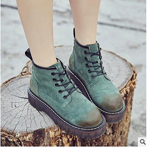 Women's Army Green Casual Toe Ankle Comfort Black Green Shoes Boots Army Closed ZHZNVX Gray Chunky Boots Heel Nappa HSXZ Brown Fall Winter for Leather Booties Sq6U5T