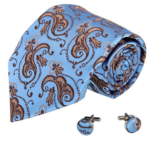 Designer Blue Paisleys Necktie Cufflinks Set with Gift Box Ties for Him Jacquard Brown Pattern Flora Silk Mens Tie and Cuff Links Gift Tie Set A1022 One Size Blue