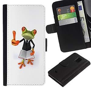 Samsung Galaxy S5 Mini / SM-G800 (Not For S5!!!) Modelo colorido cuero carpeta tirón caso cubierta piel Holster Funda protección - Smart Book Teach White Frog