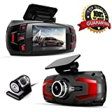 Range Tour Dash Cam, Car Full HD 1080P Dash Camera Dual Lens Recorder Front + Rear Dashboard Camera with G-Sensor, Loop Recording, Parking Monitoring, Motion Detection