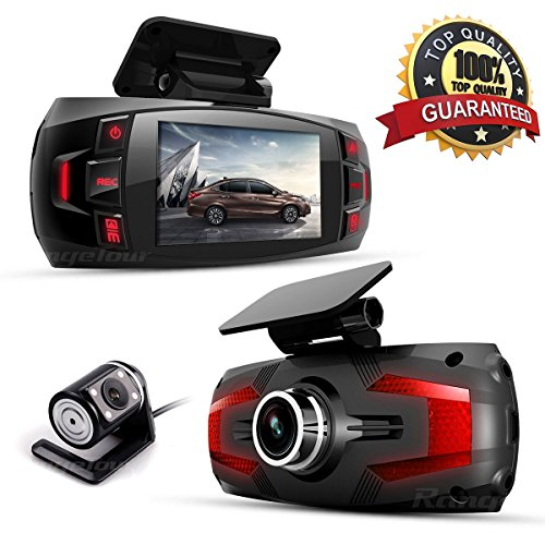 Dash Cam, Car Full HD 1080P Dash Camera Dual Lens Recorder Front + Rear Dashboard Camera with G-Sensor, Loop Recording, Parking Monitoring, Motion Detection