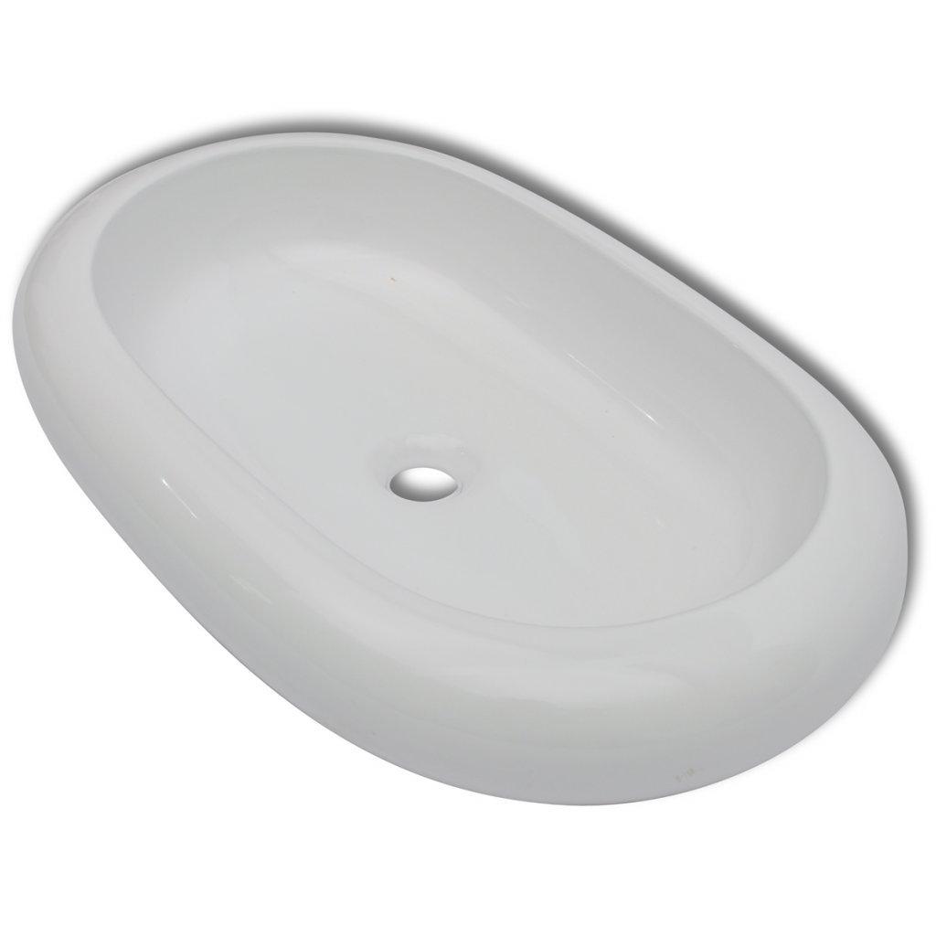 Daonanba Stylish Practical Luxury Ceramic Basin Oval-shaped Sink White 24.8'' x 16.5''