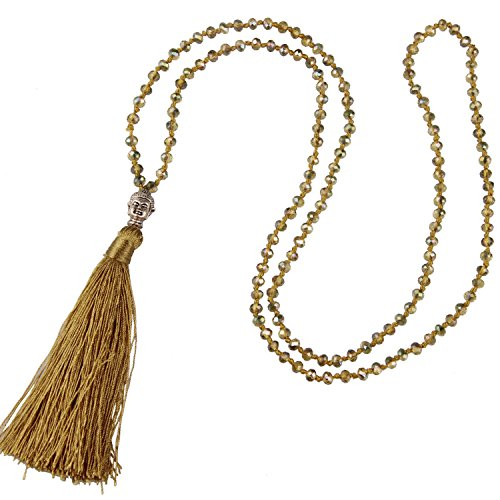 KELITCH Long Hand Knotted Buddha Tassel Necklaces for Tops, Jeans, Golden Tan