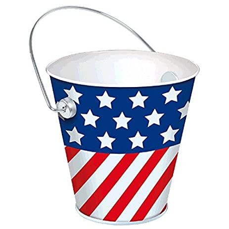 Red White and Blue Stripes Metal Bucket Patriotic 4th of July Party Tableware 4\u0026quot  sc 1 st  Amazon.com & Amazon.com: Red White and Blue Stripes Metal Bucket Patriotic 4th ...