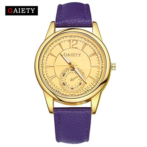 Transparent Dial Faux Leather Wrist Watch (Purple) - 6