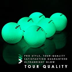 Glow Gear GlowV1 Night Golf Ball with Compression Core and Urethane Skin, Pack of 6