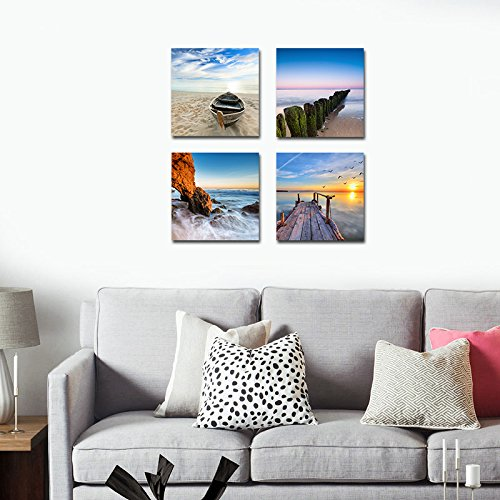 Wieco Art – Seaview Modern Seascape Giclee Canvas Prints Artwork Contemporary Landscape Sea Beach Pictures to Photo Paintings on Canvas Wall Art for Home Decorations Wall Decor 4pcs/set