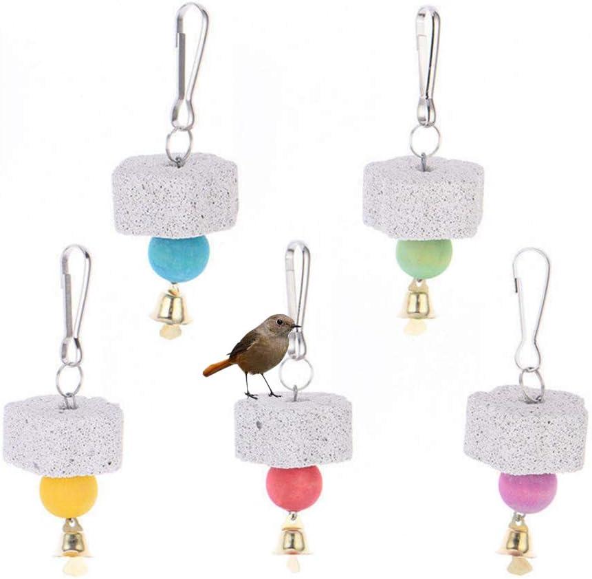 Redcolourful Forma de Flor de Mascota Piedra de afilar con Juguete de mordida de Campana para pájaros Loro Ardilla Color Aleatorio La Vida Mascotas
